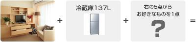 1.オリジナル収納家具・冷蔵庫の2点+右のお好きな商品どれでも1点