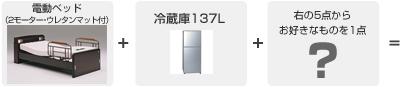 3.電動ベッド・冷蔵庫の2点+右のお好きな商品どれでも1点